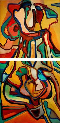 Ölmalerei, Malerei, Abstrakt, Ikarus