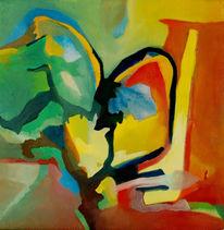 Ölmalerei, Malerei, Abstrakt, Nachmittag