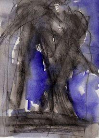 Blau, Nacht, Malerei, Surreal