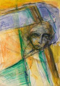 Abstrakt, Mond, Figural, Grün