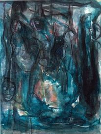 Mond, Surreal, Abstrakt, Blau
