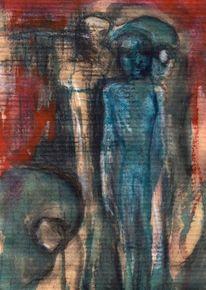 Abstrakt, Figural, Rot, Blau
