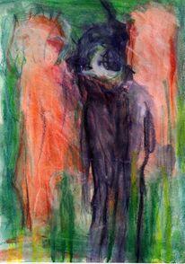 Grün, Abstrakt, Figural, Malerei