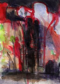 Abstrakt, Rot, Grün, Surreal