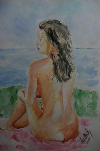 Menschen, Farben, Aquarellmalerei, Akt