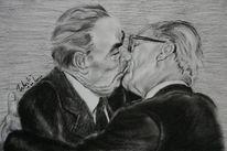 Deutsch russische freundschaft, Putin und merkel, Kreide, Liebe