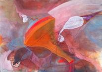 Temperamalerei, Orange, Weiß, Tusche