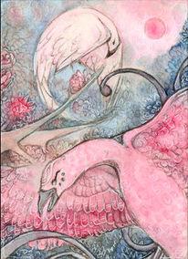 Rosa, Karte, Vogel, Fantasie