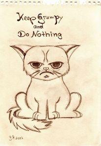 Skizze, Mürrisch, Katze, Unzufrieden