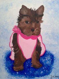 Bunt, Zeitgenössisch, Acrylmalerei, Hund
