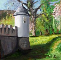 Park, Mauer, Schlosspark, Mittelalter