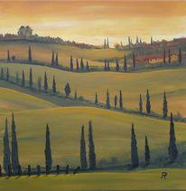 Landschaft, Zypressen, Toskana, Abendlicht