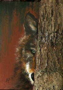 Wolf - Collage mit Baumstamm