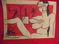Erotik, Farben, Zeichnung, Akt