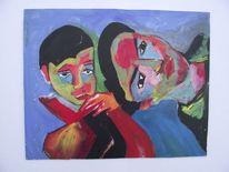 Kind, Malerei, Mädchen, Traurig