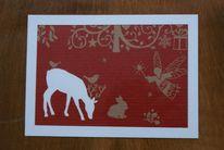 Glückwunschkarte, Weihnachten, Reh, Silhouette