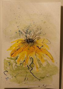 Sonnenhut, Blumen, Tuschezeichnung, Blüte