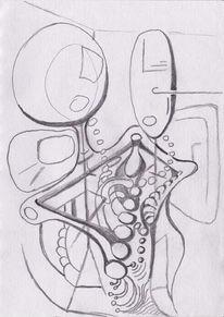 Automatisch, Paar, Zeichnung, Gekritzel