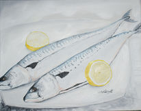 Fisch, Malerei, Stillleben, Zitrone