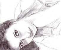 Frau, Liegend, Zeichnungen, Portrait