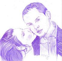 Liebe, Macht, Paar, Zeichnungen