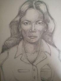 Zeichnungen, Portrait, Gedanken, Frau