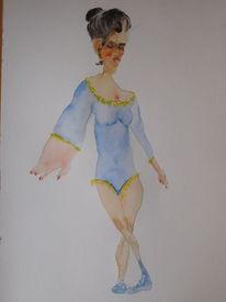 Ballerina, Blau, Leistung, Aquarell