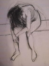 Frau, Sitzen, Gedanken, Zeichnungen