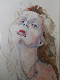 Frau, Skizze, Augen, Zeichnung