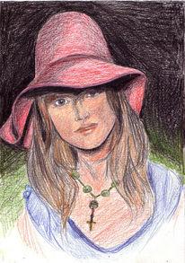 Dunkel, Mädchen, Zeichnungen, Portrait