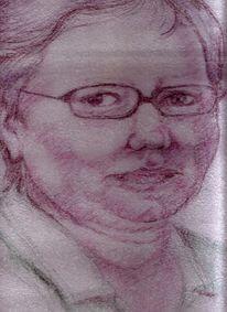 Zeichnungen, Portrait, Frau, Kuli