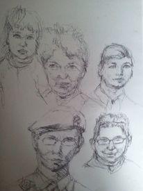 Zeichnungen, Hand, Kuli