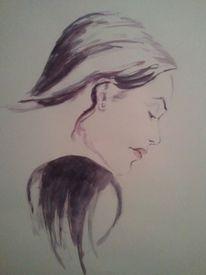 Aquarell, Figural, Lila