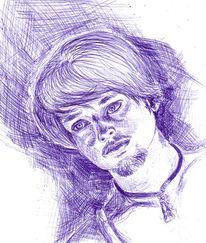 Traurig, Mann, Hilfloss, Zeichnungen