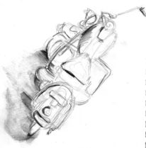 Motorrad, Zeichnungen