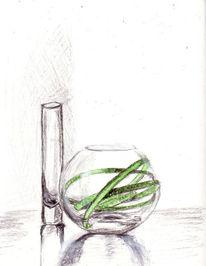 Drinn, Grün, Vase, Zeichnungen