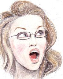 Frau, Erstaunen, Glas, Brille