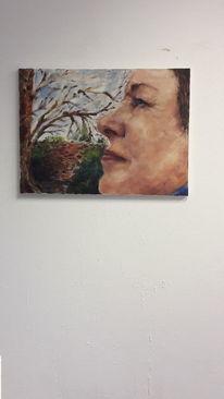 Frau, Mauer, Baum, Malerei