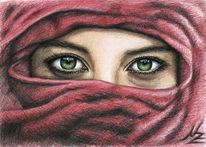 Frau, Augen, Gesicht, Rot