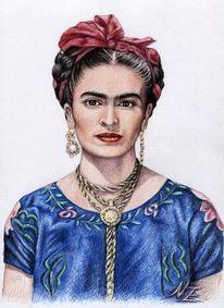 Gesicht, Portrait, Frida kahlo, Zeichnung