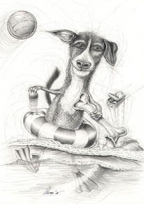 Comic, Tiere, Hund, Bleistiftzeichnung
