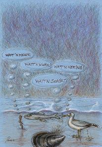 Illustration, Buntstiftzeichnung, Nordsee, Zeichnung