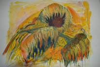 Orange, Grün, Sonnenblumen, Herbst