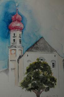 Aquarellmalerei, Dorf, Kirche, Ausserfern