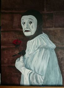 Harlekin, Rose, Weiß, Traurig