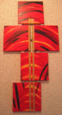 Mischtechnick, Kreuz, Rot schwarz, Brücke