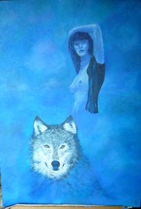 Akt, Traum, Wolf, Frau
