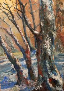 Winter, Landschaft, Wald, Malerei