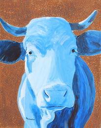 Zeitgenössische kunst, Kuh, Ölmalerei, Acrylmalerei