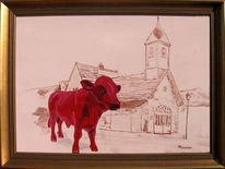 Acrylmalerei, Landenhausen, Milan art, Kuh